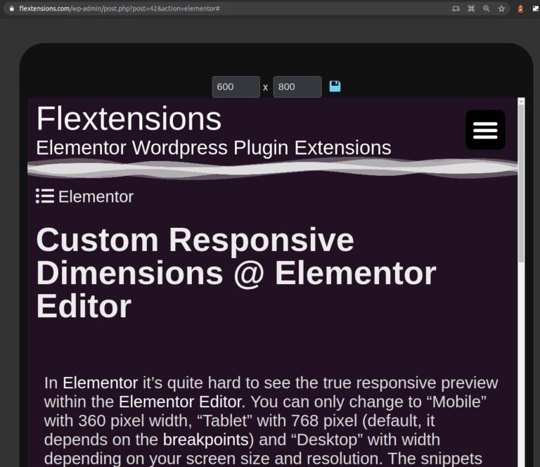 Custom Responsive Dimension Preview Elementor Editor